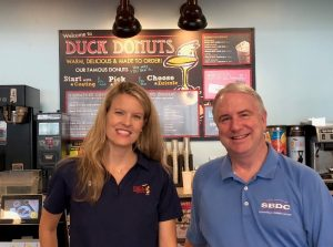 L to R; Carrie Neigel, Owner, Duck Donuts; Bill Harnden, SBDC at RVCC Regional Director