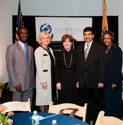 L to R: SBDC Regional Dir. Larry Jenkins; NJ Lt. Gov. Kim Guadagno; NJSBDC COO and Associate State Dir. Deborah Smarth; Dr. Pankaj Mohan, Oncobiologics, Inc.; NJSBDC CEO and State Dir. Brenda Hopper
