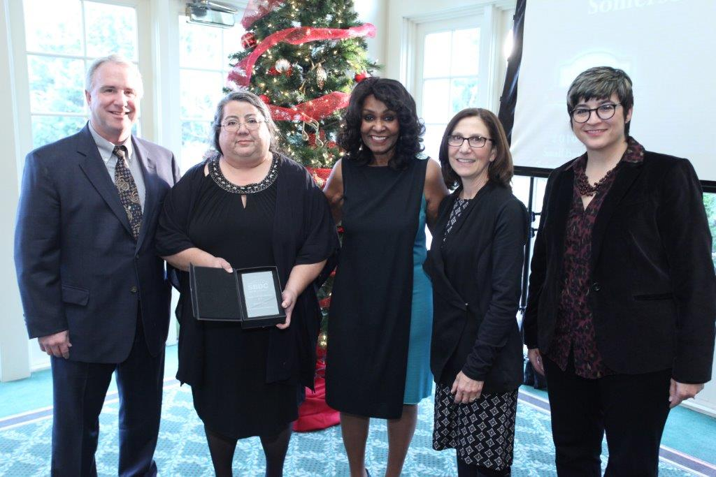 Pictured, L to R: Bill Harnden, Regional Dir. SBDC at RVCC; Rebeca Jimenez, owner-CertaPro Painters; Brenda Hopper, NJSBDC CEO and state director; Jackie Belin, RVCC VP Strategic Prog & Develop; Karen Auld, SBDC Instructor